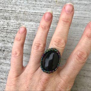 Jewelry - Black onyx BEADED ring iridescent band size 8/9